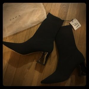Zara FABRIC HIGH HEEL ANKLE BOOTS WITH STRETCH